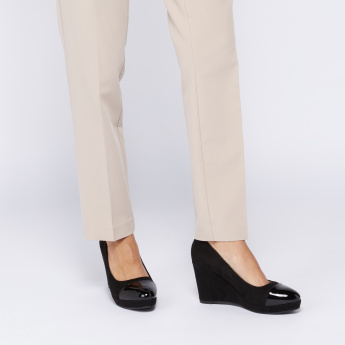Slip-On Wedge Heel Pumps with Glossy Toe Cap