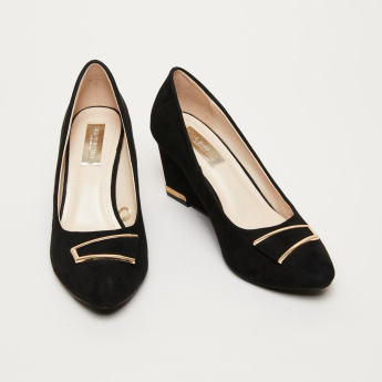Slip-On Wedge Heel Pumps with Medallion Applique