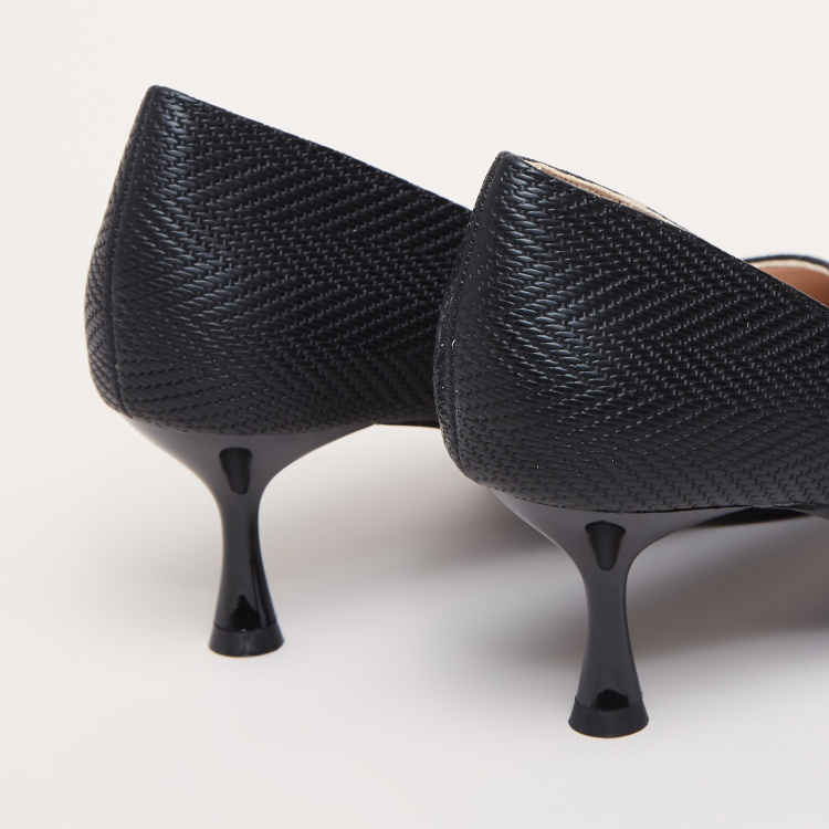 Textured Pumps with Spool Heels