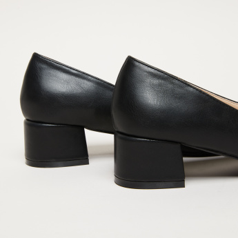 Mid Block Heel Slip-On Pumps