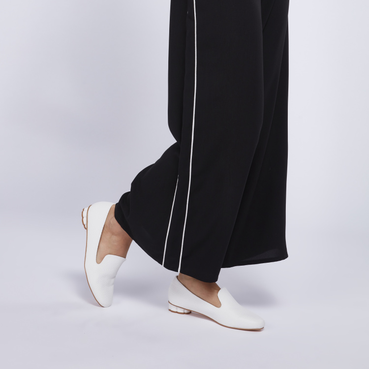 Textured Slip-On Loafers with Statement Heels