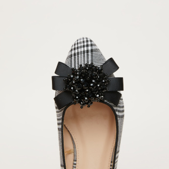 Beaded Bow Detail Ballerina Shoes