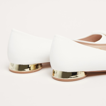 Buckle Detail Ballerina Shoes with Flat Metallic Heels