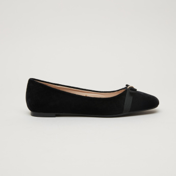 Bow Applique Square Toe Ballerinas
