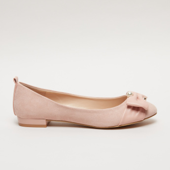 Paprika Pearl and Bow Detail Ballerina Slip-On Shoes
