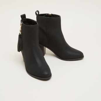 Metallic Boots with Zip Closure
