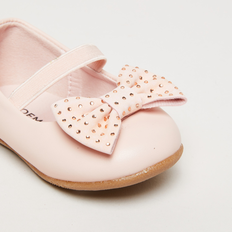 Bow and Stud Detail Mary Jane Shoes with Elasticised Band