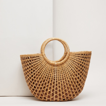 Weave Design Tote Bag with Twin Handles