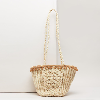 Weave Design Tote Bag with Drawstring Closure