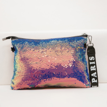 Sequin Crossbody Bag with Detachable Strap