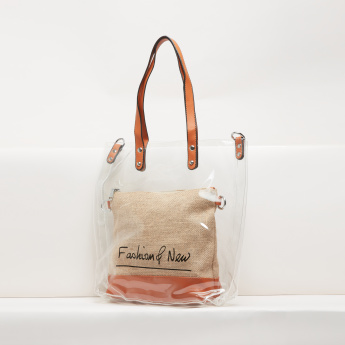 Printed Tote Bag with Textured Pouch