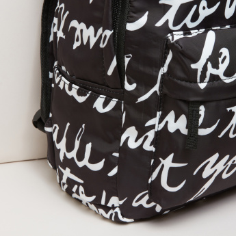 Printed Multi-Compartment Backpack with Zip Closure