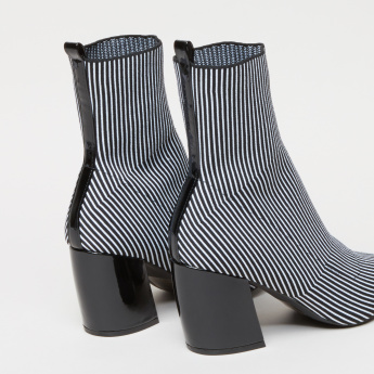 Striped Boots with Block Heels
