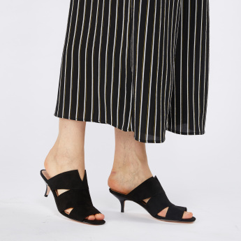 Textured Mules with Kitten Heels