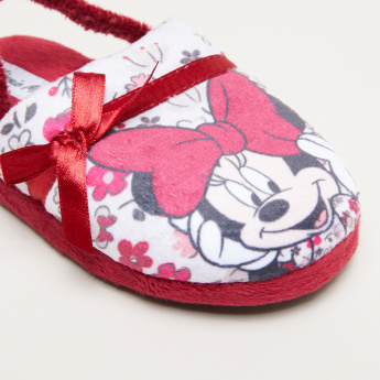 Minnie Mouse Printed Sandals with Backstrap and Bow Applique