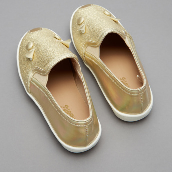 Juniors Applique Detail Slip-On Shoes with Elasticised Gussets