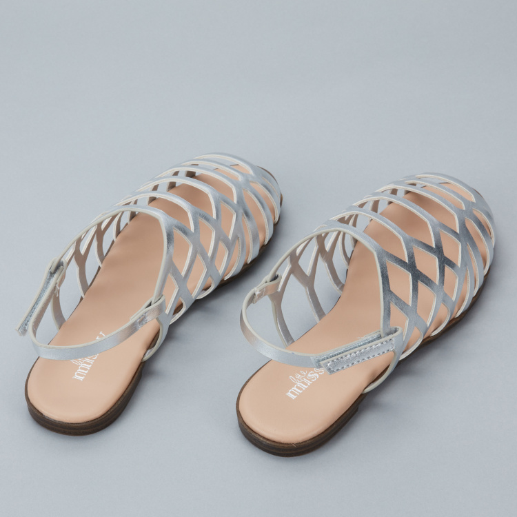 Little Missy Sling Back Sandals with Hook and Loop Closure
