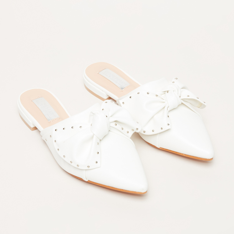 Studded Bow Detail Mules