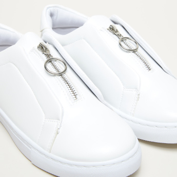 Zip Detail Slip-On Sneakers