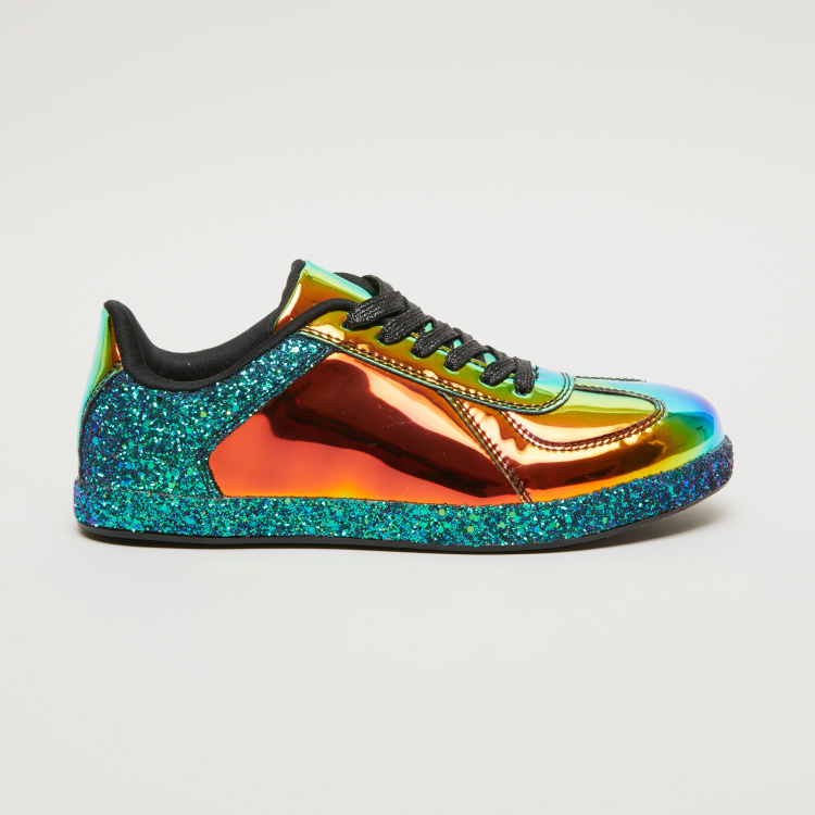 Metallic Sneakers with Glitter Detail
