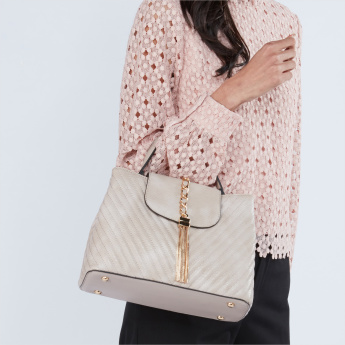 Celeste Textured Satchel Bag with Metallic Applique