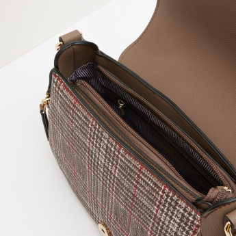 Paprika Chequered Satchel Bag with Zip Accent