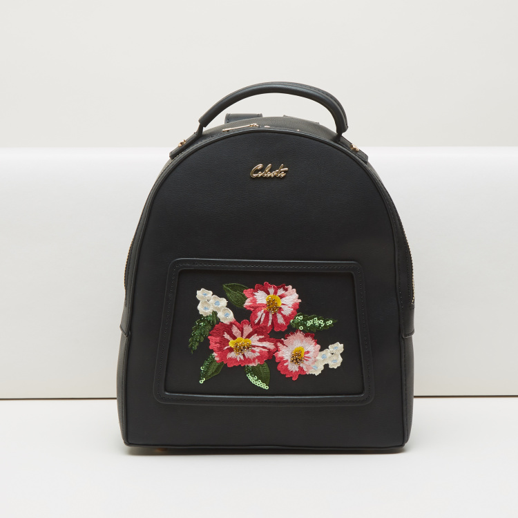 Celeste Embroidered Backpack with Sequin Detail
