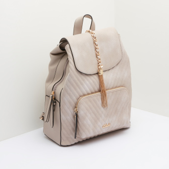 Celeste Quilted Backpack with Magnetic Snap Closure and Tassels