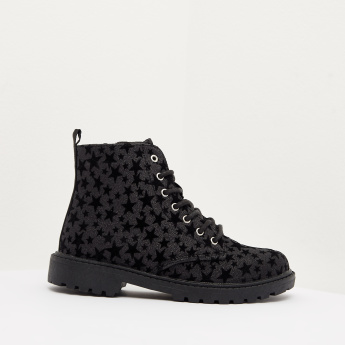 All-Over Star Print Ankle Boots with Lace-Up Closure