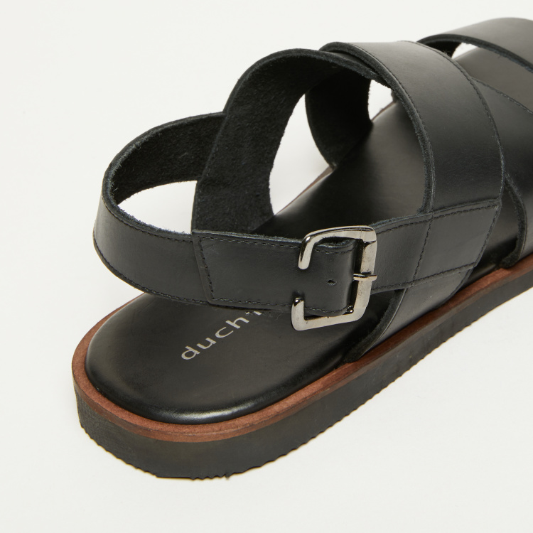 Duchini Cross Strap Sandals with Buckle Closure