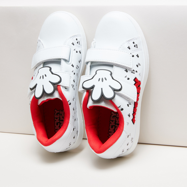 Mickey Mouse Printed Sneakers with Hook and Loop Closure