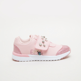 Elsa Printed Sneakers with Stud and Glitter Detail