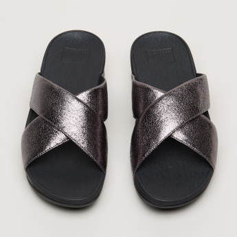 Textured Cross Strap Sandals