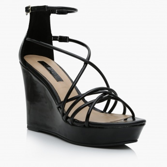 Paprika Platform Wedges with Buckle Closure