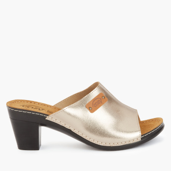 Cozy Metallic Block Heel Slides
