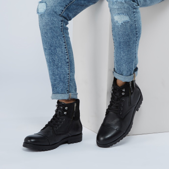 Lee Cooper Textured High Top Shoes with Zip Closure