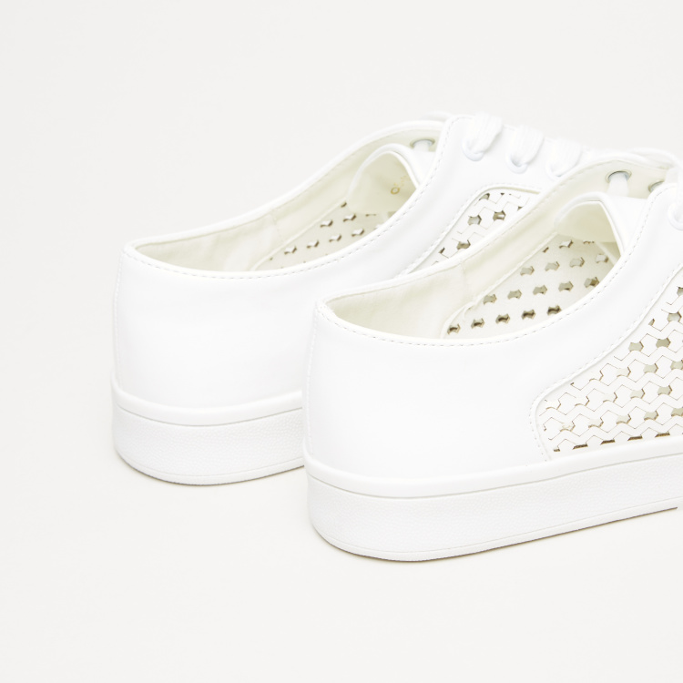 Cutout Detail Sneakers with Lace-Up Closure