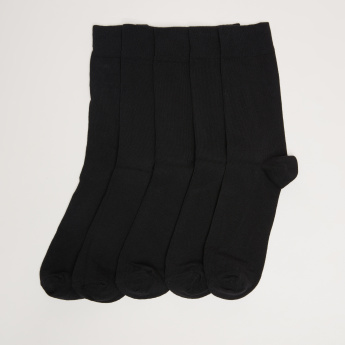 Ribbed Crew Length Socks - Set of 5