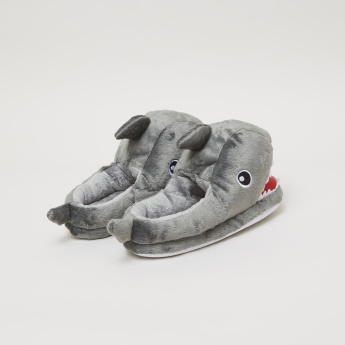 Plush Indoor Slides with Applique Detail