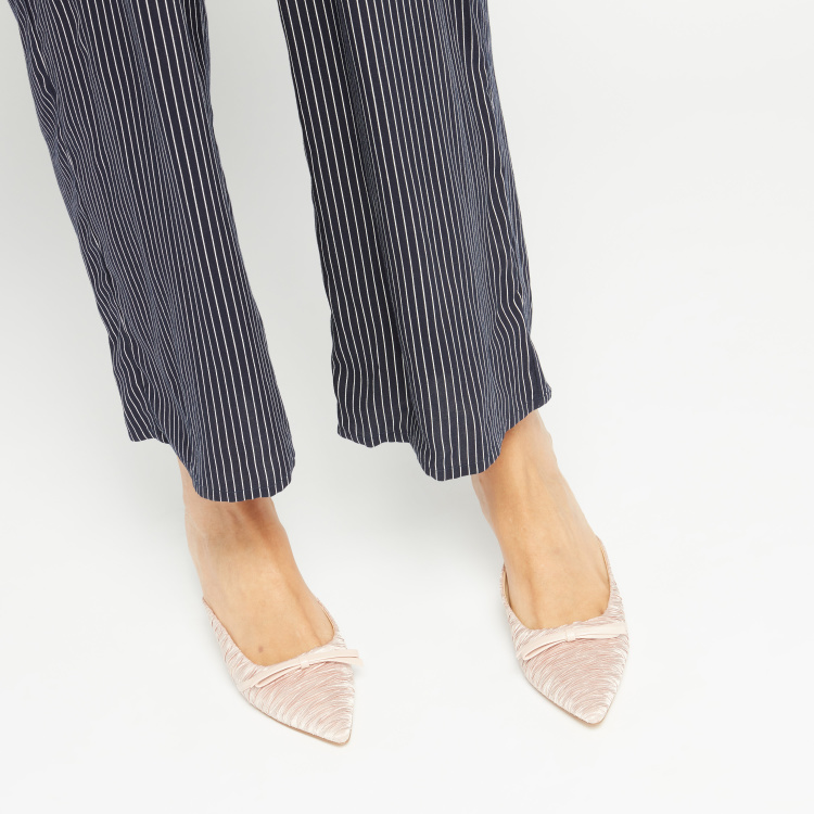 Textured Slip-On Mules with Spool Heels