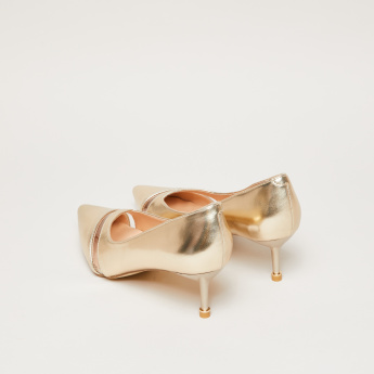 Medallion Detail Pumps with Stiletto Heels