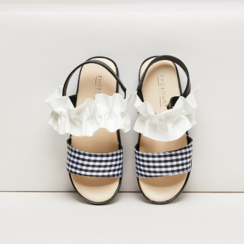 Chequered Sandals with Ruffle Detail