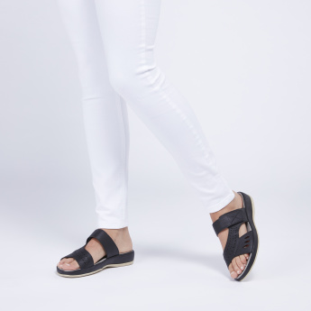 Laser Cut Detail Slip-On Sandals with Hook and Loop Closure