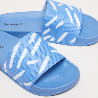 Slides with Textured Footbed and Printed Straps