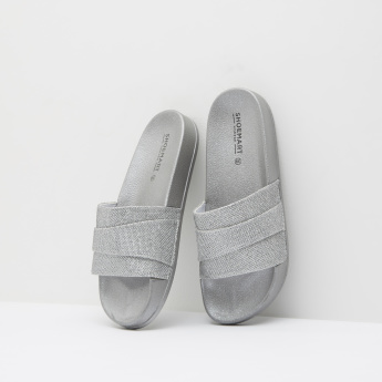 Shimmery Detailed Slides with Slip-On Closure