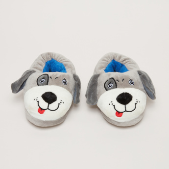 Dog Face Embroidered Indoor Slides