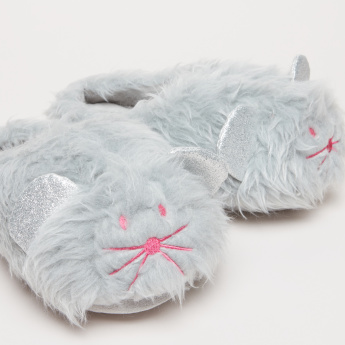 Plush Bedroom Slippers with Textured Sole
