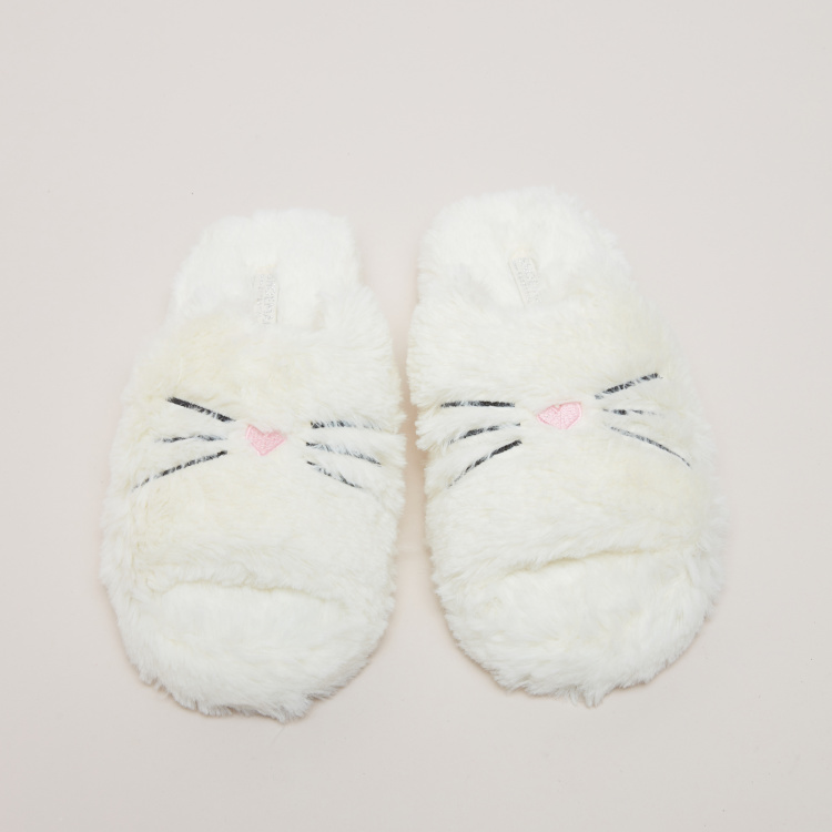 Plush Embroidered Indoor Slides