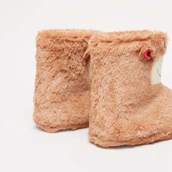 Plush High Top Bedroom Shoes with Applique Detail
