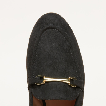 Textured Loafers with Metallic Accent